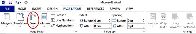 انتخاب منوی Size در تب Page Layout